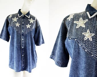 Vintage 80's Beaded Stars Denim Woman's Short Sleeve Button Down Retro Blouse