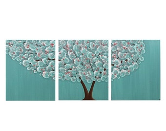 ON SALE Nursery Art Girl - Tree Painting on Canvas Triptych - Teal and Pink Wall Art - Medium 35x14