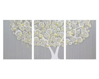 Yellow and Gray Canvas Art Painting of Tree - Textured Wall Art - Large 50X20