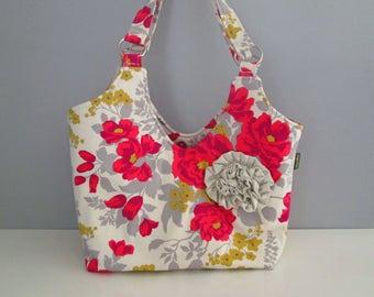 Large Shoulder Bag, Gray Shoulder Bag, Floral Shoulder Bag, Small Tote Bag, Gray Fabric Bag, Flower Embellishment