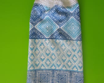 Blue and White Abstract Crochet Top Hanging Terry Kitchen Hand Towels