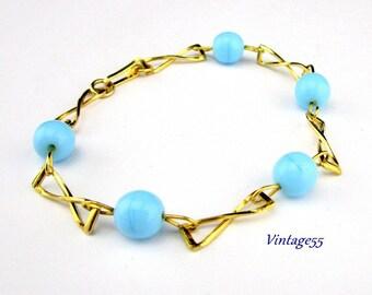 Bracelet Turquoise Glass Beaded Gold tone