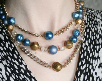 Three Layer Blue and Gold Mid Century Modern Necklace
