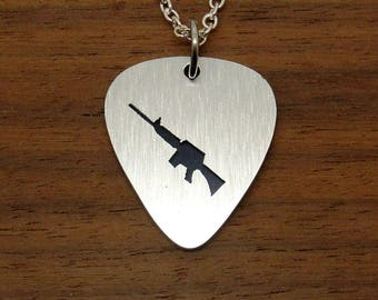 Rifle AR15 Necklace Pendant Made From Overlaid Aluminum Guitar Picks, Chain Or Key Ring