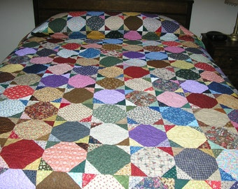 King Size Quilt,  Snowball Quilt, 97 x 103 inches