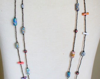 Lampwork Beaded Glass Necklace Artisan Made Vintage