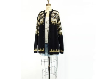 RESERVED 60s Vintage Sweater Fair Isle Sweater 1960s Black Cardigan Norwegian Sweater Nordic Black Cardigan Black Wool Cardigan l, XL