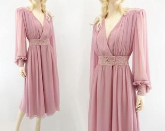 80s Vintage Dress 1980s Chiffon Dress 80s Lace Party Dress 1980s Sheer Dress Vintage Paul Cornish Dusty Rose Dress Sheer Midi Dress m