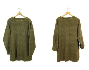 Moss Green Cut Out Sweater 90s Crochet Knit Sweater Top Long Knit Tunic Chunky Open Knit Sweater Cut Work Slouchy Sweater Top Womens Medium
