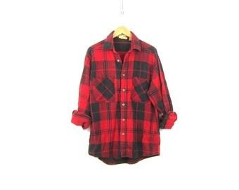 Plaid Shirt Cotton Flannel Red Black Lumberjack Button Up Long Sleeve Oversized Grunge Vintage Mens Rugged Work Shirt Size Large