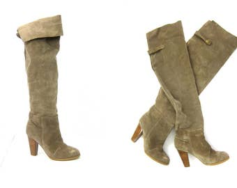 Tall Suede leather boots Slouch boots FOLD OVER boho Chic Pirate COWGIRL Over the Knee Fashion boots Womens Shoes size 8