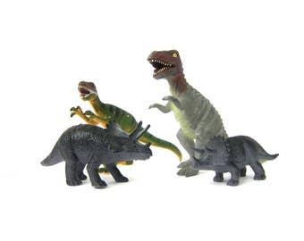 Plastic Dinosaurs children toys Shelf Display Room Decor Gray and Green Animals Aquarium Terrarium