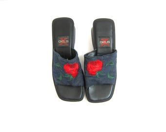 Embroidered Rose Slip on Sandals Summer Slides Shoes Vintage Chunky Heel Denim Flip Flops Flower Embroidery Shoes Women's SIZE 8