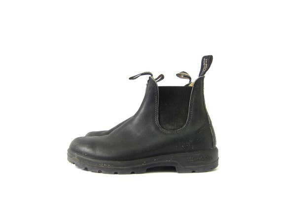 Black Leather Boots Blundstone Ankle Booties 90s Grunge Side Panel Pull Up Vintage Chelsea Boots Chunky Women's US 7 UK 5
