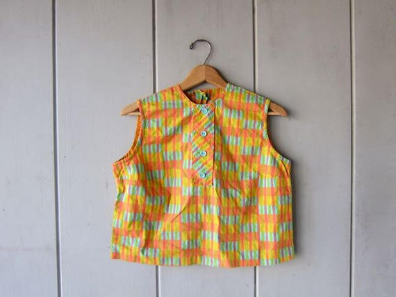 Cropped 60s Tank Top Orange Yellow Blue Top BUTTONS UP BACK Crop Mod Sleeveless Tee Preppy Cotton Blouse Louannes Vintage Xs Small
