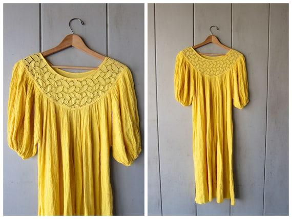 Vintage Cotton Gauze Dress YELLOW Grecian Thin Cotton Festival Dress Cutwork Beach Caftan Bohemian 70s Midi Goddess Dress DES Womens Large