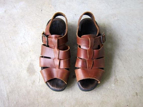 Peep Toe Sandals 90s Brown Leather Sandals Strappy Sandals Chunky Heels Buckled Sandals Woven Leather Sandals Vintage Minimal Womens 7