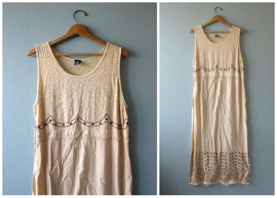 Maxi Indian Dress Long Pale Yellow Embroidered Festival Dress Gypsy Sundress Hippie Dress 90s Ethnic Boho Maxi Sun Dress Size Large Dells