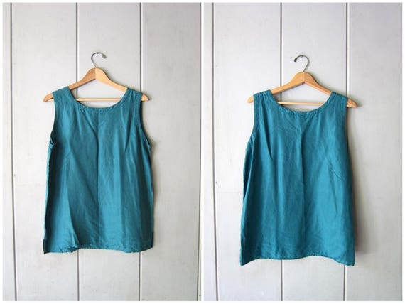 90s Silk Tank Top Teal Green Blouse Loose Fit Minimal Crop Top Modern Tank Simple Basic Casual Silk Top Vintage Womens Medium Large