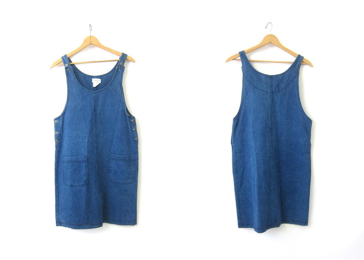 Vintage 90s Blue Denim Dress Jean Denim Jumper Bib Mini POCKET Dress Denim Preppy Summer DES ...