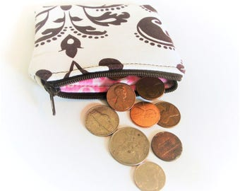 Coin Purse - Small Accessory Bag - Change Purse - Wallet - Zippered Pouch