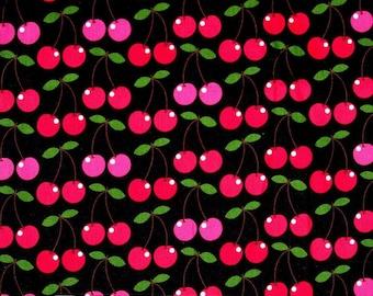 Timeless Treasures Fabric - Cherries Red Pink on Black Hoodie C8386 YARDS