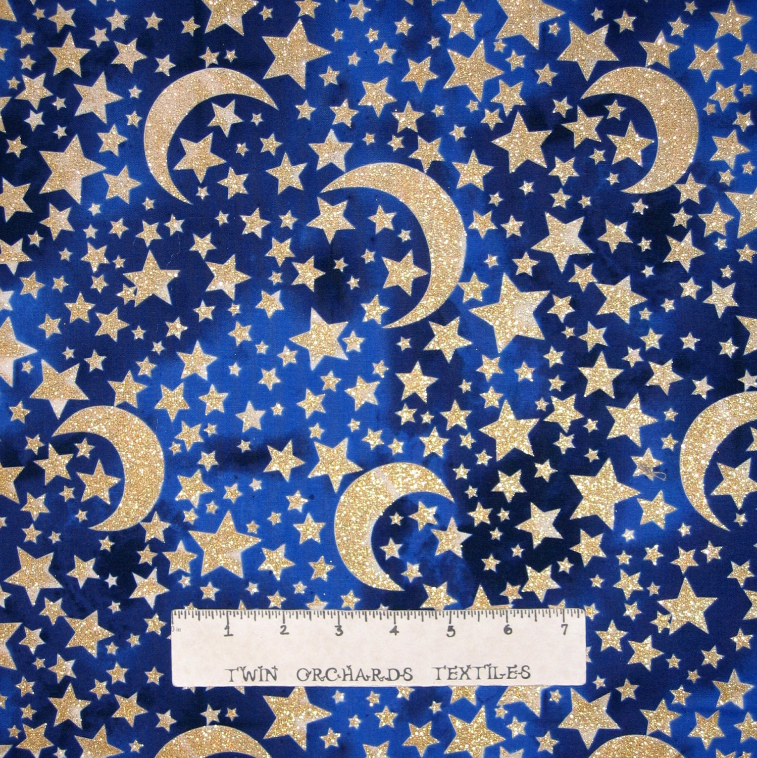 Space fabric gold glitter moon stars midnight blue for Moon and stars fabric