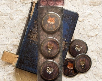 "Badges Set - Button - Brooch - animals - anthropomorphic - Fox - Cat - Owl - ""Beautiful Bestiary"""