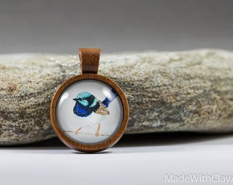 Miniature Painting Fairy Wren Bird Sterling Silver Necklace - Mini Tiny Animal Songbird Nature Handmade Jewelry - Wood Glass Pendant