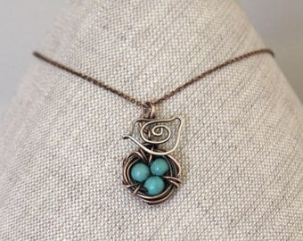Bird Nest Necklace, Mama Bird. Oxidized Copper, Sterling Silver. Howlite Turquoise, Wire Jewelry