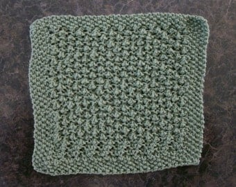 Hand Knit Sage Green Dishcloth - measures approximately 91/x91/2 inches
