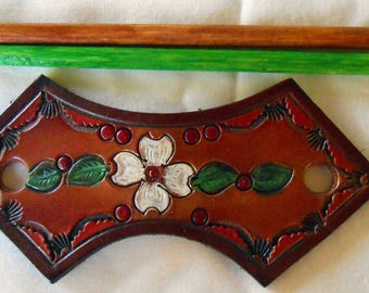 Brown Border Leather Hair Barrette with Flower and Leaves Made in GA USA OOAK