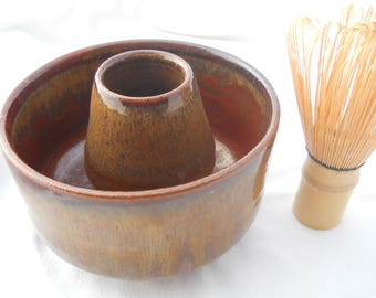 Iron red matcha bowl and whisk holder