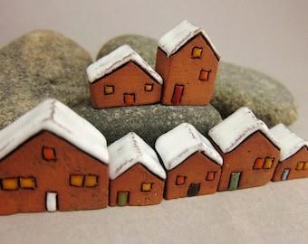 Lucky Seven...Miniature Terracotta Houses from elukka
