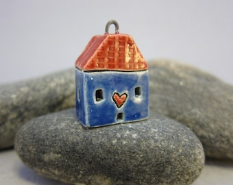 Love Lives Here...Ceramic Cottage Pendant...Blue
