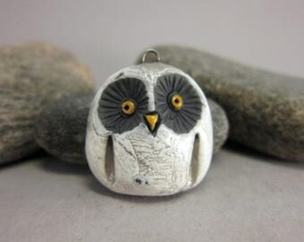 Matte White Owl...Raku Pendant