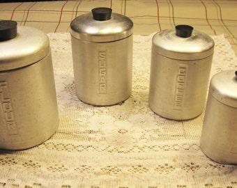 4 Piece Aluminum Canister Set 1950s  FLOUR SUGAR COFFEE Tea