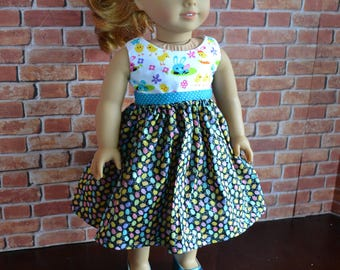 18 inch Doll Clothes - Sparkly Eggs Colorblock Dress - BLACK PINK BLUE white - Easter Spring - Bunny Chicks - fits American Girl