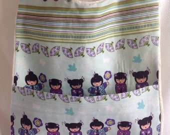 Baby bib with crumb catcher pocket girls in kimonos