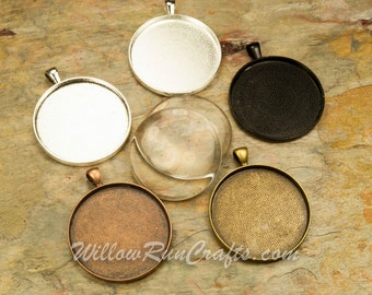 50 pcs 38mm Circle Pendant Trays with 50  Glass Cabochons, Silver, Antique Copper, Antique Bronze and Black, Blank Bezel Cabochon Setting
