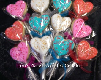 Heart Cookie Pops - Valentine's Day Cookies - 12 Cookie Pops