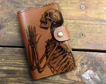 skull Leather Journal, Leather Sketchbook, Leather Passport cover, moleskin Journal, field notes journal, moleskin cover