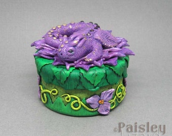 Purple Flower Dragon jewelry keepsake box, polymer clay mixed media gift box