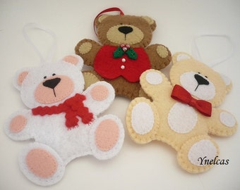 Christmas Ornament, Bears, Felt Christmas Ornaments  Personalized with name or year  - ONE ORNAMENT