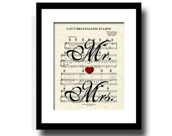Can't Help Falling In Love Sheet Music Art Print, Elvis Presley, Mr. and Mrs., First Dance, Custom Wedding and Anniversary