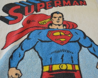 Vintage SUPERMAN bath towel DC Comics 1978 Made in USA