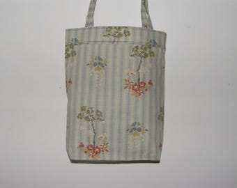 Tote Bag with Trees and Slate Gray Stripes