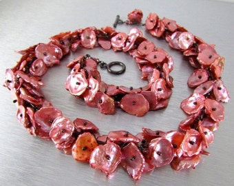 20 Off Salmon Pink Keishi Pearl and Oxidized Sterling Silver Necklace