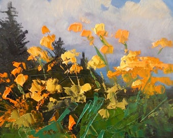 "Wildflower Landscape, Yellow Flowers, Palette Knife Painting, Original Painting, 6x8"" Oil Painting, Impasto Art"
