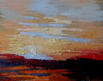 """Abstract Landscape Painting, Small Oil Painting, Palette Knife Painting, Textured Painting, 10x10x3"""" Original Oil"""